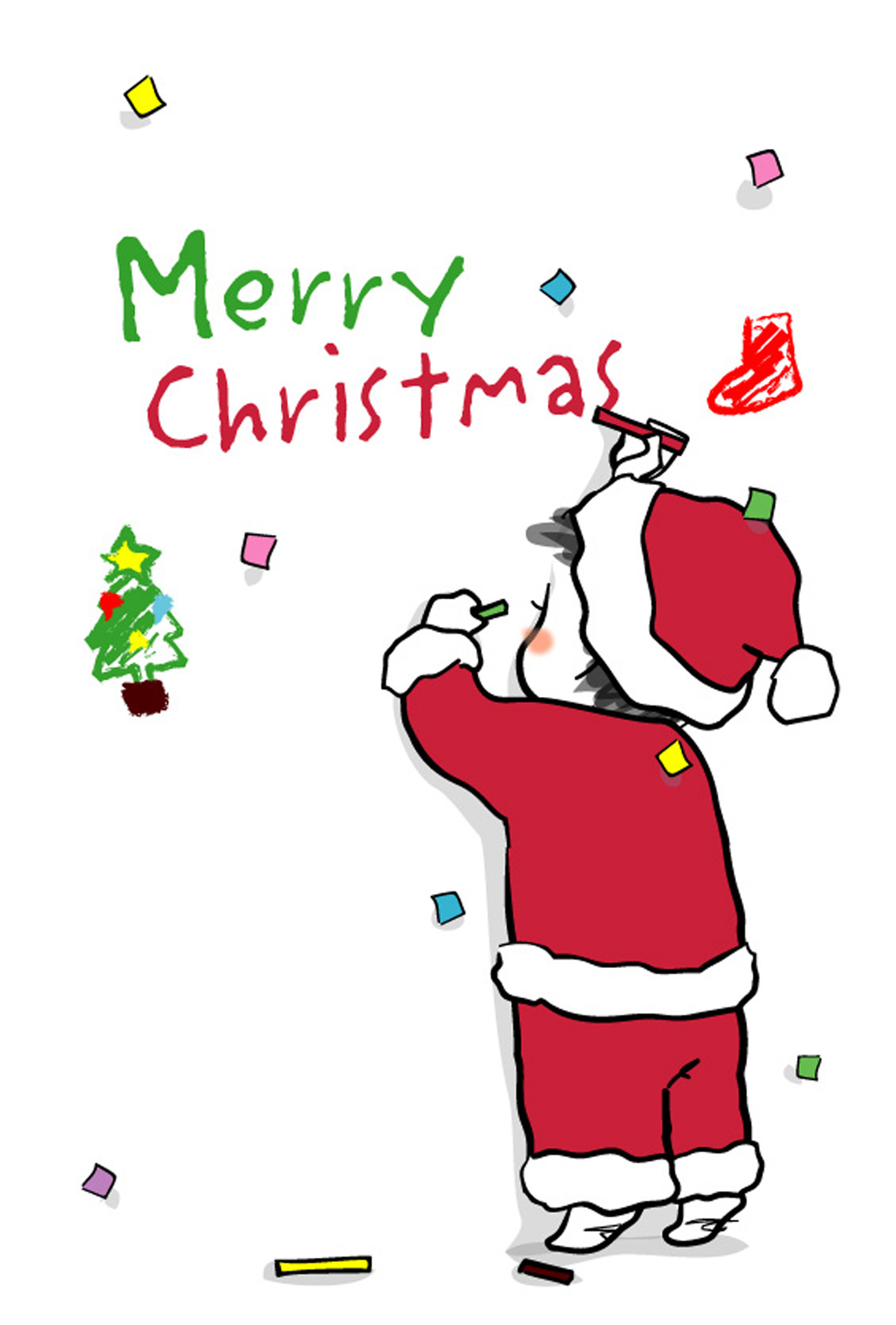 クリスマスカードテンプレート「こどものおえかき」ダウンロード